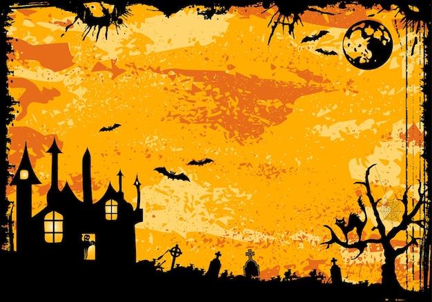 Grunge halloween frame with bat, ghost, element for design, vector illustration