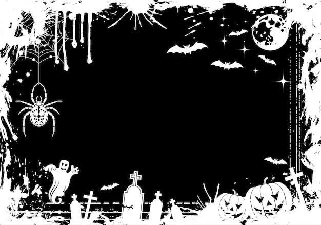 Рамка хэллоуин гранж с тыквой, летучая мышь, элемент дизайна, векторные иллюстрации