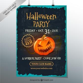 Гранж хэллоуин шаблон плакат партии