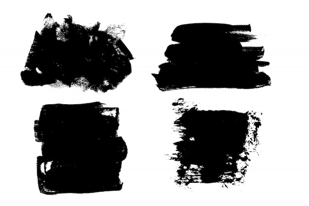 グランジ手描きペイントブラシストライプ。ベクトル黒インク