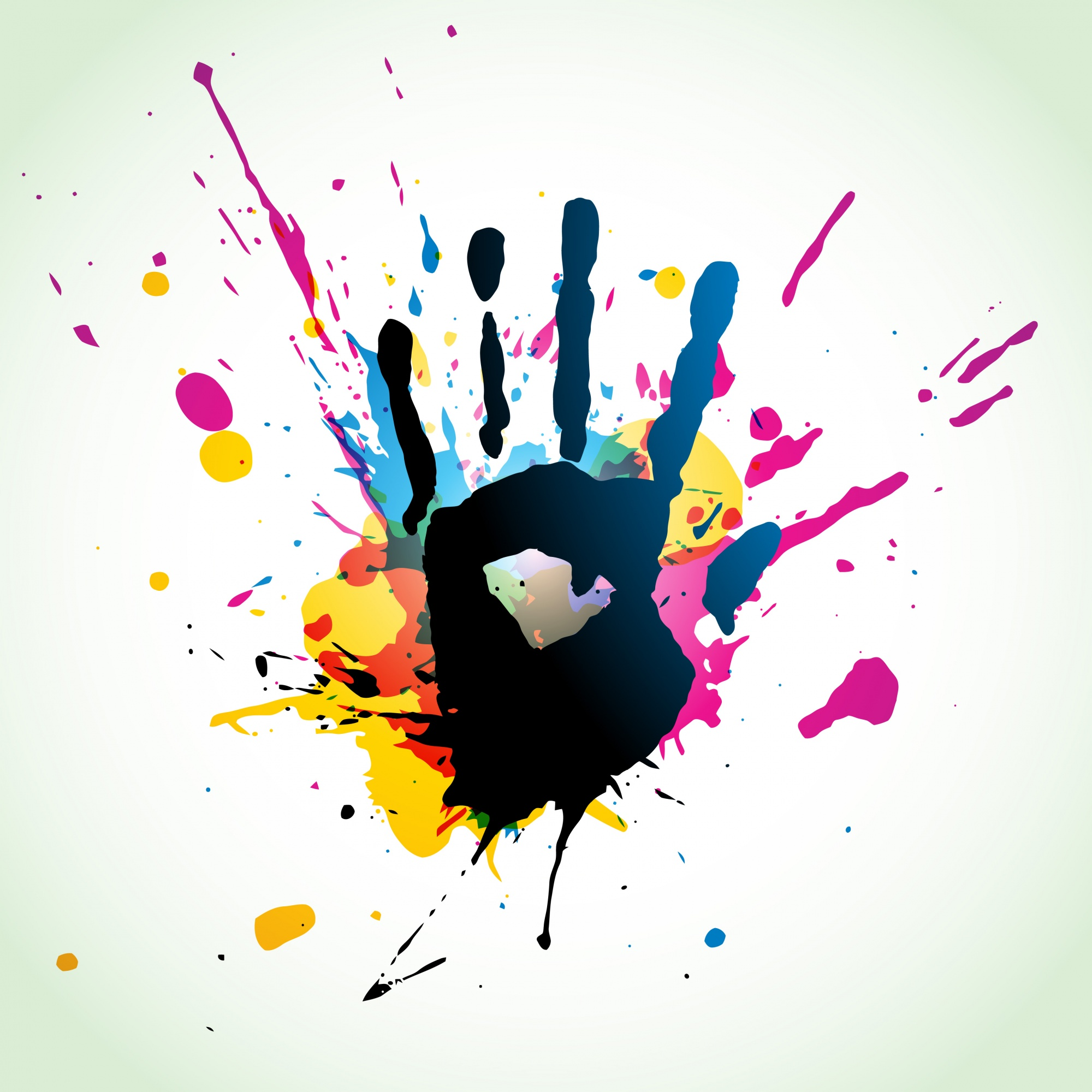 Grunge hand on paint splashes