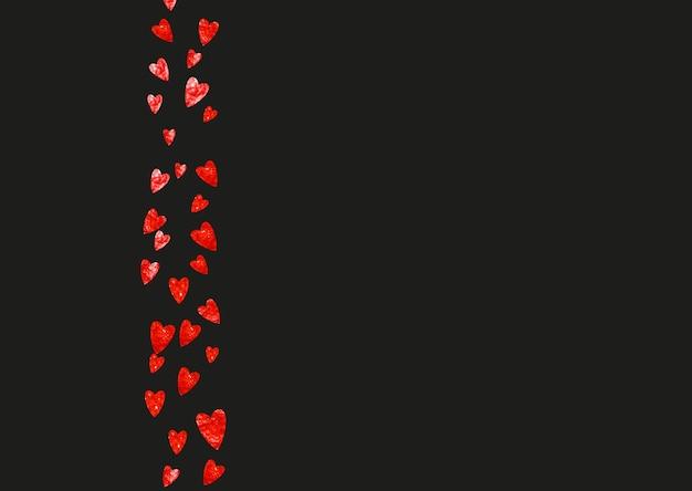 赤いキラキラとバレンタインデーのグランジハートの背景。 2月14日。グランジハート背景のベクトル紙吹雪。手描きのテクスチャ。パーティーの招待状、小売りのオファー、広告のテーマが大好きです。