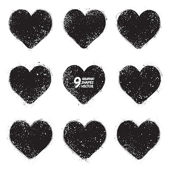 Grunge hearts vector set