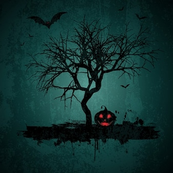 Grunge стиль хэллоуин фон с битами jack o фонарь и дерево