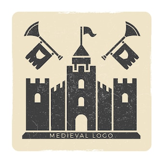 Grunge medieval castle logo