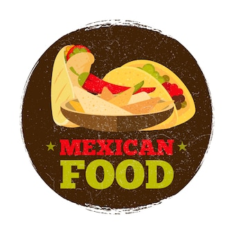 Grunge mexican food logo or badge