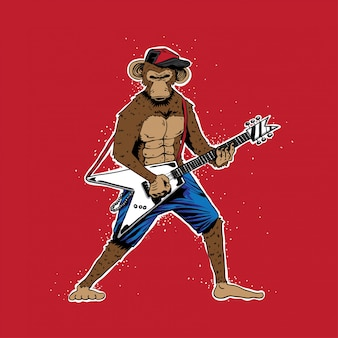 Grunge monkey with electric guitar vector illustration