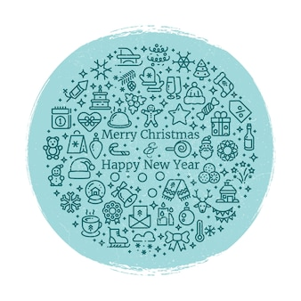 Grunge new year and christmas line art icons arranged in ball