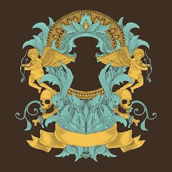 天使とマンダラのパターンでグランジ飾り Premiumベクター