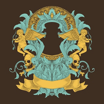 Grunge ornament with angel and mandala pattern