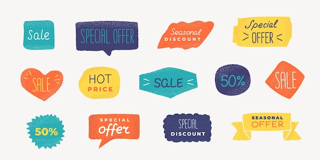 Grunge promo badge. sale text banner with, discount and special offer label with grunge texture. vector colorful coupon sticker emblem set for promo design discount action