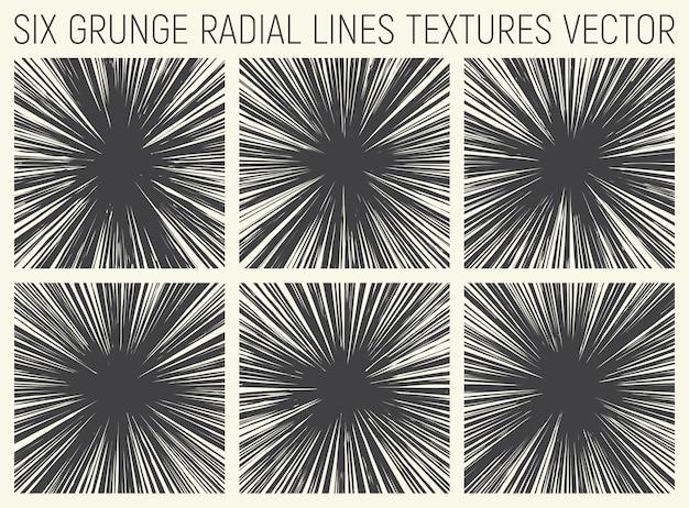 Grunge radial lines textures vector set