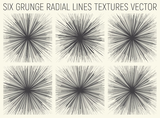 Grunge radial lines textures vector