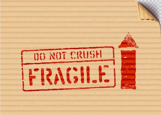 段ボールのグランジ赤い貨物ベクトルボックスサイン壊れやすい、上向き矢印、押しつぶさないでください