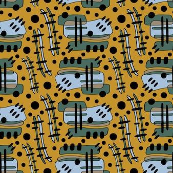 黄色の背景にテキスタイルデザインのグランジ繰り返しパターン。