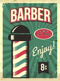 Grunge retro metal sign with barber pole.