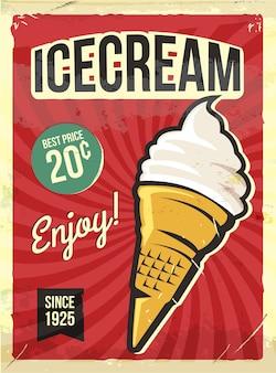 Grunge retro metal sign with ice cream.