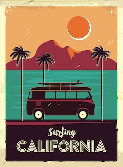 Grunge retro metal sign with palm trees and van.