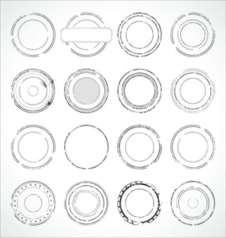 Grunge round paper stickers black and white vector