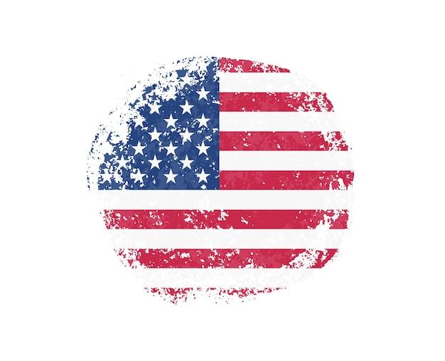 アメリカの国旗とグランジの丸い形