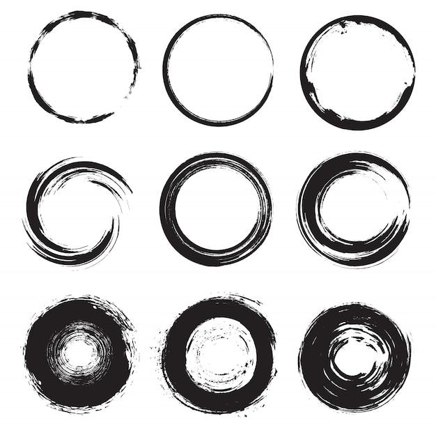 Grunge round shapes set