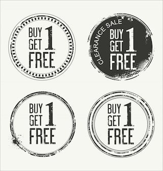 Grunge rubber label with text buy one get one free