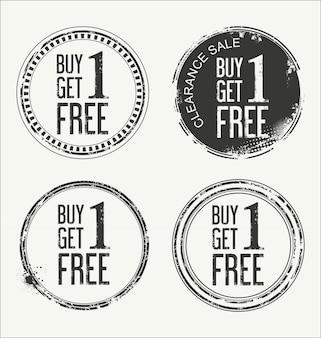 Грубая резиновая этикетка с текстом купить one get one free