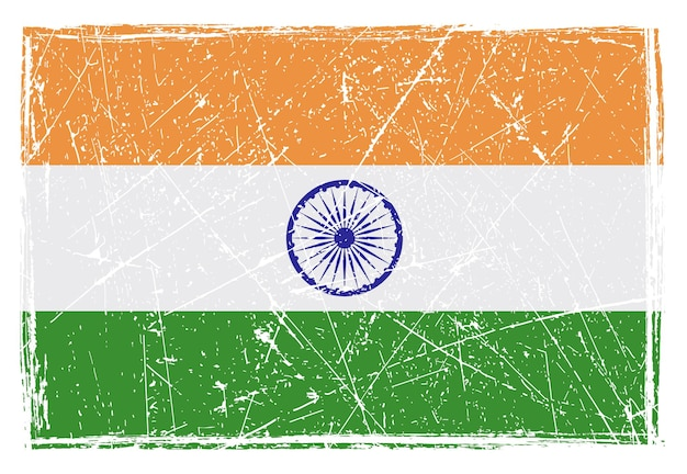 Grunge scratched flag of india
