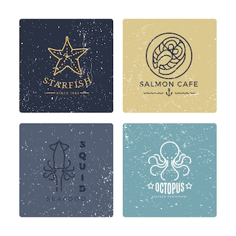 Grunge seafood labels line style collection