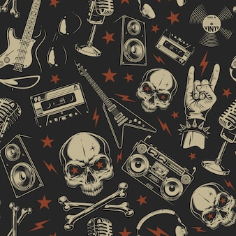 Grunge seamless pattern with skulls Free Vector