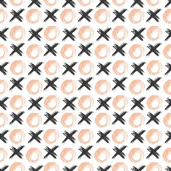 グランジスケッチシームレスなパターンの円と十字架。手描きのhipsterの背景。ウェブ、プリント、ファブリック、テキスタイルラッピング用のベクトル。