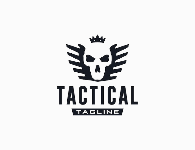 Grunge skull wearing crown with wings logo template for tactical company