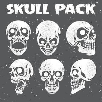Grunge skulls collection pack