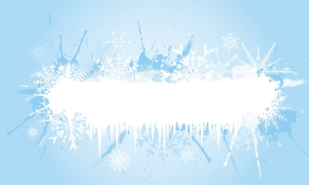 Grunge snowflake background with icicles