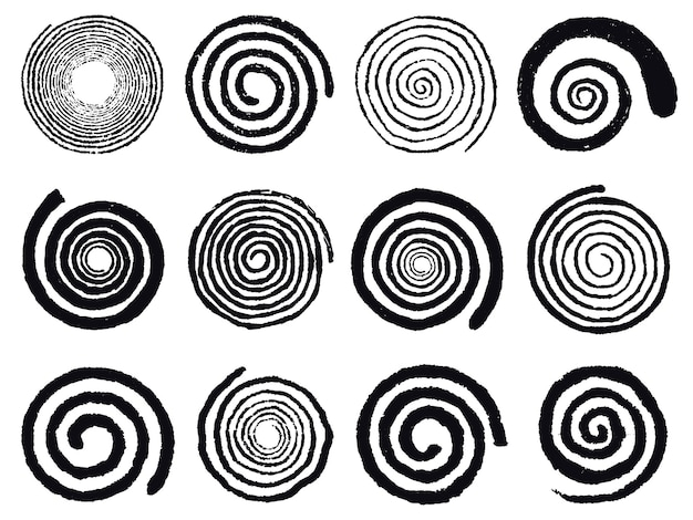 Grunge spirals. swirling abstract simple rotating spirals, black ink spiral circles isolated vector illustration set. vortex swirl elements and rotating hypnotize, psychedelic and hypnotic