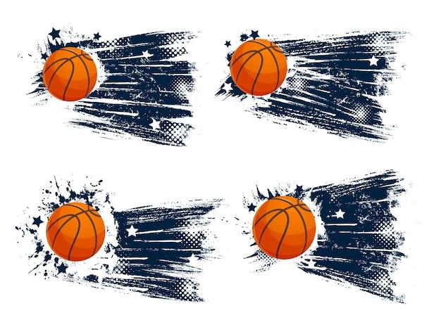 Grunge sport balls of basketball game design. orange rubber balls