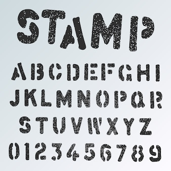 Grunge stamp alphabet font template