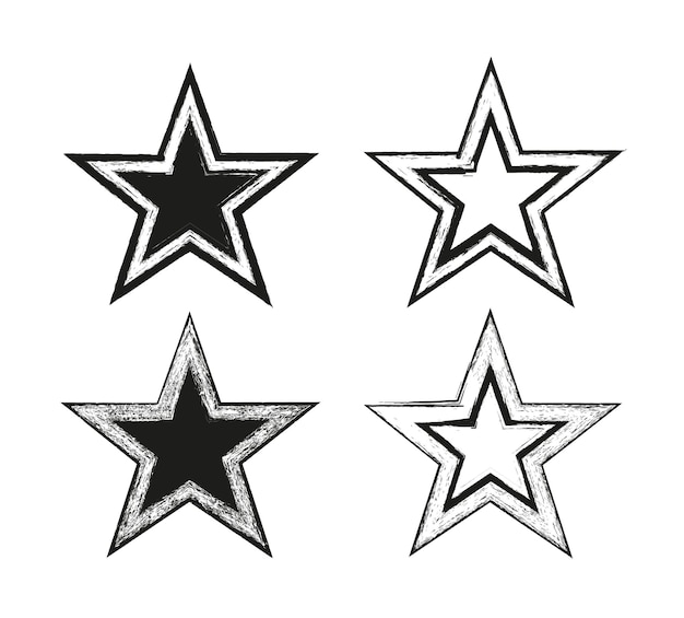Grunge star icon set