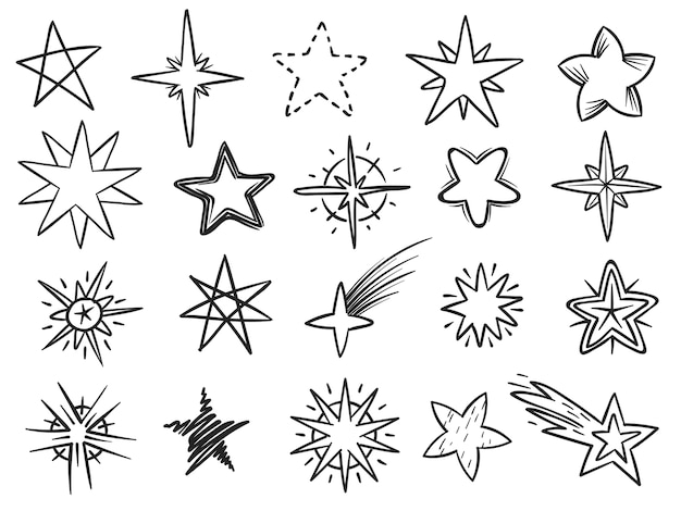 Grunge star shapes black hand drawn vector elements for christmas decoration
