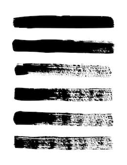 グランジストリップ。ベクトルインクブラシのセットです。バナー、ボックス、フレーム、パターン、プリント、およびデザイン要素の汚れたテクスチャ。白い背景で隔離の黒い線