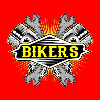 Grunge style bikers logo piston and wrench
