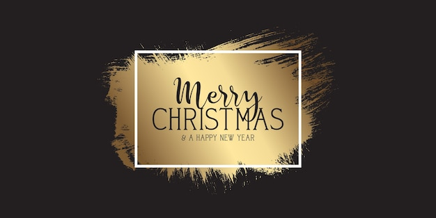 Grunge style black and gold christmas banner