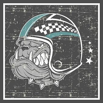 Grunge style bulldog wearing helmet