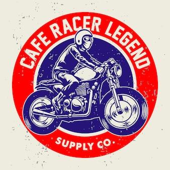 Grunge style of cafe racer badge