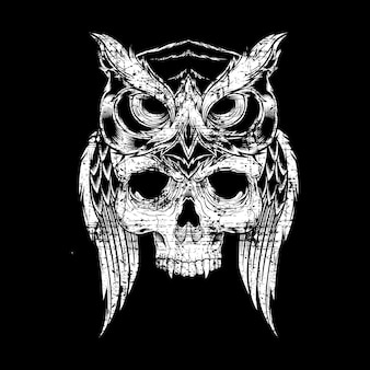 Grunge style elaborate drawing of owl holding skull