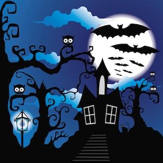 Grunge style halloween background with bats jack o lantern and owl