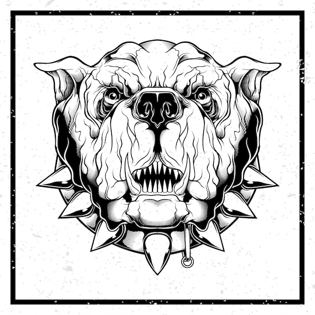 Grunge style illustration closeup of furious bulldog