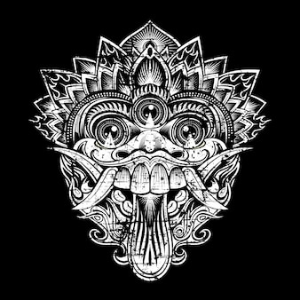 Grunge style  illustration mythological god's masks. balinese style