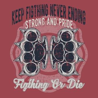 Grunge style knuckle fighting illustration