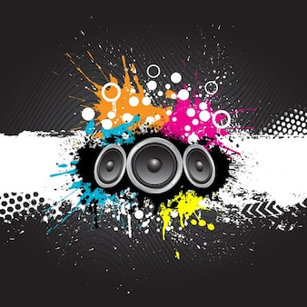 Grunge style music background with speakers
